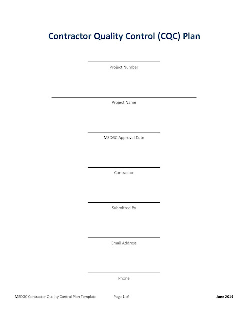 Download Contractor Quality Control Plan Template in Word and PDF