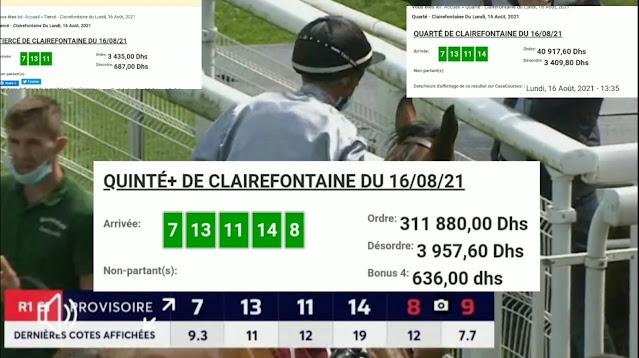 Arrivée DE AGEN DU 16/08/2021 Tiercé et Quinté QUARTE