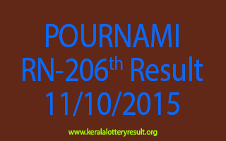 POURNAMI RN 206 Lottery Result 11-10-2015