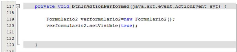 Código que nos permitirá abrir el segundo formulario