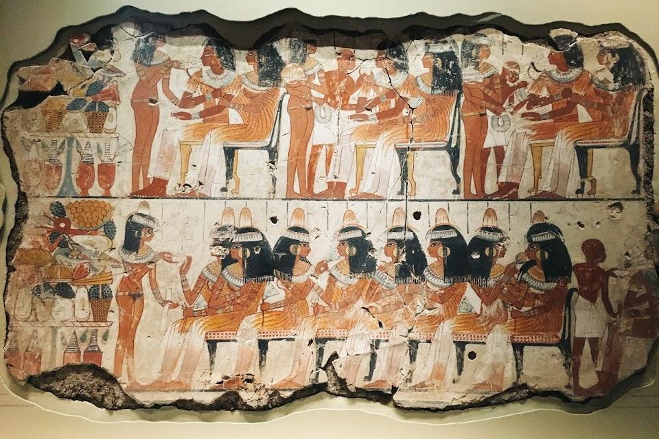ネブアメンの墓の壁画「饗宴に集う客」