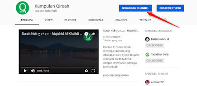 Cara Membuat Cuplikan Video di Depan Channel YouTube