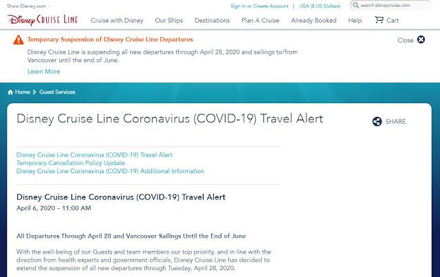 「迪士尼郵輪」(Disney Cruise Line)暫停所有航線至2020年4月28日
