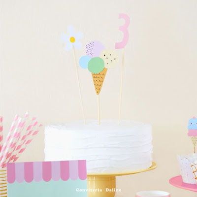 topo bolo personalizado sorvete sorveteria
