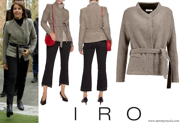 Princess Marie wore IRO Belted leather-trimmed wool-blend jacket
