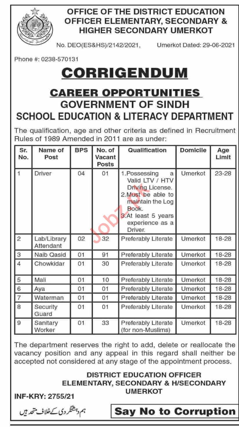 School Education & Literacy Department Umerkot Jobs 2021 in Pakistan