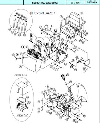Ghế và hệ thống điều khiển trên ghế Dong Yang 15 tấn SS3504-SS3506-SS3506M