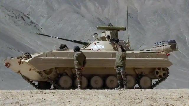 Soldiers operating T-90 bhishma MBT in Ladakh