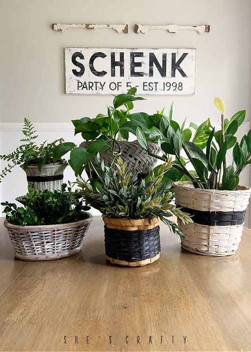 Make easy and inexpensive and stylish planters for your home decor by painting thrift store baskets