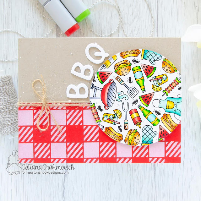 Summer BBQ card by Tatiana Trafimovich | BBQ Roundabout Stamp Set and Gingham Stencil by Newton's Nook Designs #newtonsnook