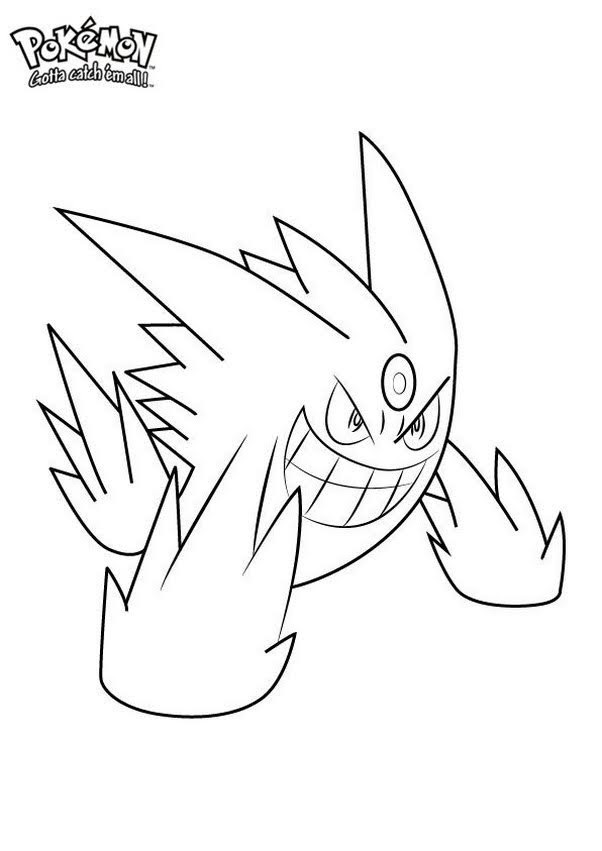 Easy Pokemon Coloring Pages : pokemon, coloring, pages, Pokemon, Gengar, Coloring, Pages