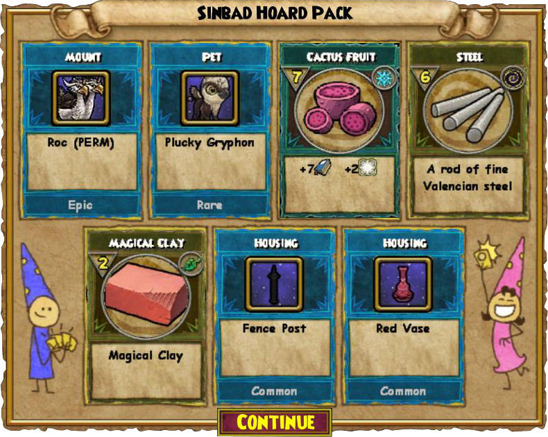 Wizard101 Sinbad Hoard Pack