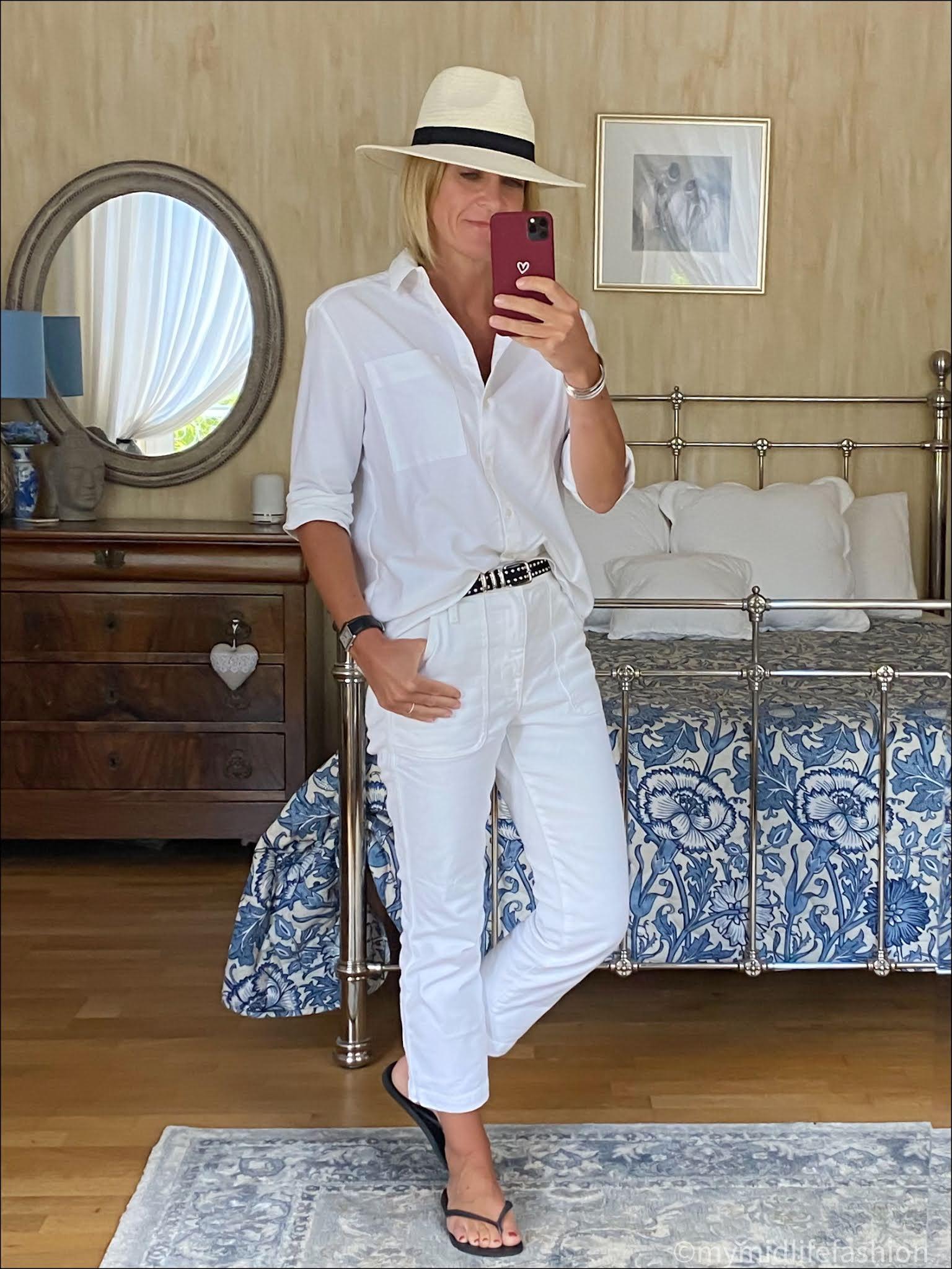 my midlife fashion, Zara Panama sun hat, Baukjen heather organic shirt, the kooples leather studded belt, j crew cropped straight leg jeans, havaianas slim fit flip flops