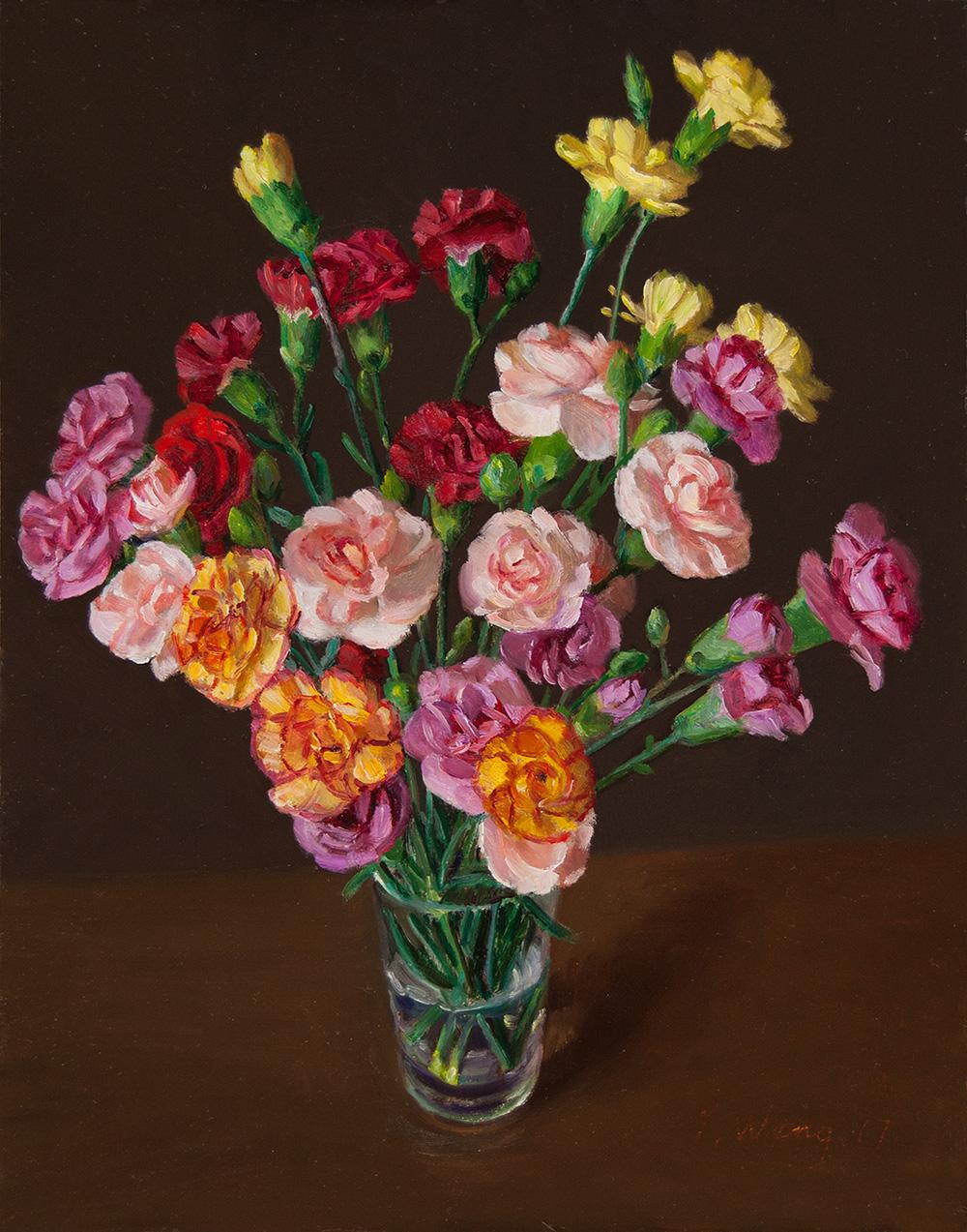 Wang Fine Art Carnation Flower Still Life Painting Flora Original