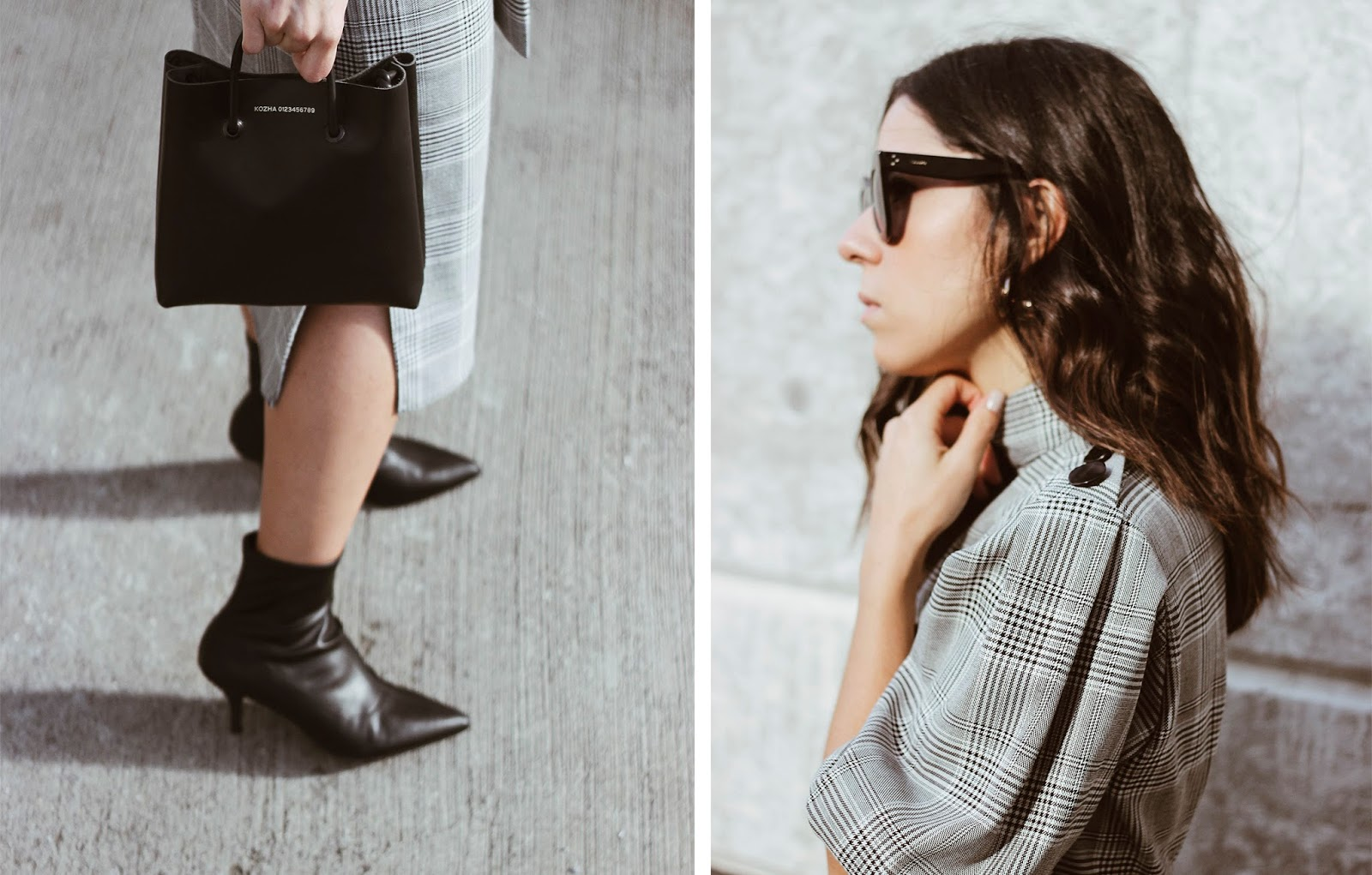Check print dress and sock boots outfit Kozha Numbers bag