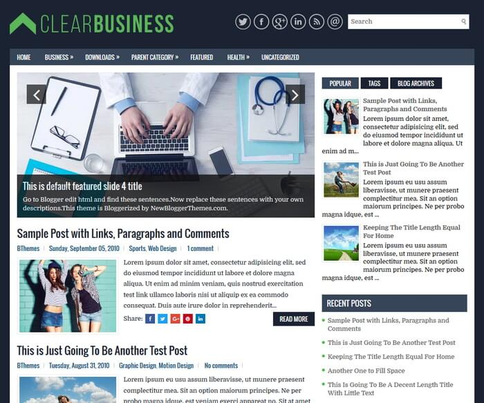 ClearBusiness Blogger template has a mobile friendly slider Free Download ClearBusiness Blogger Template