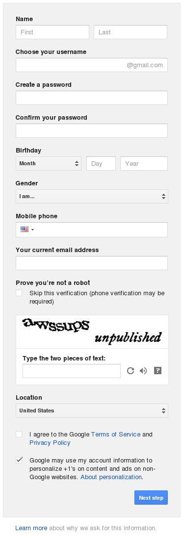 form akun google blogger