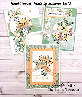 These three cards all use the Hand-Penned Petals Bundle from Stampin' Up! (including the Hand-Penned DSP Designer Paper and Genial Gems).  I made these on my weekly Facebook Live.  Supply list and measurements on the blog (with link to YouTube video).  #StampinUp #StampTherapist #HandPennedPetals