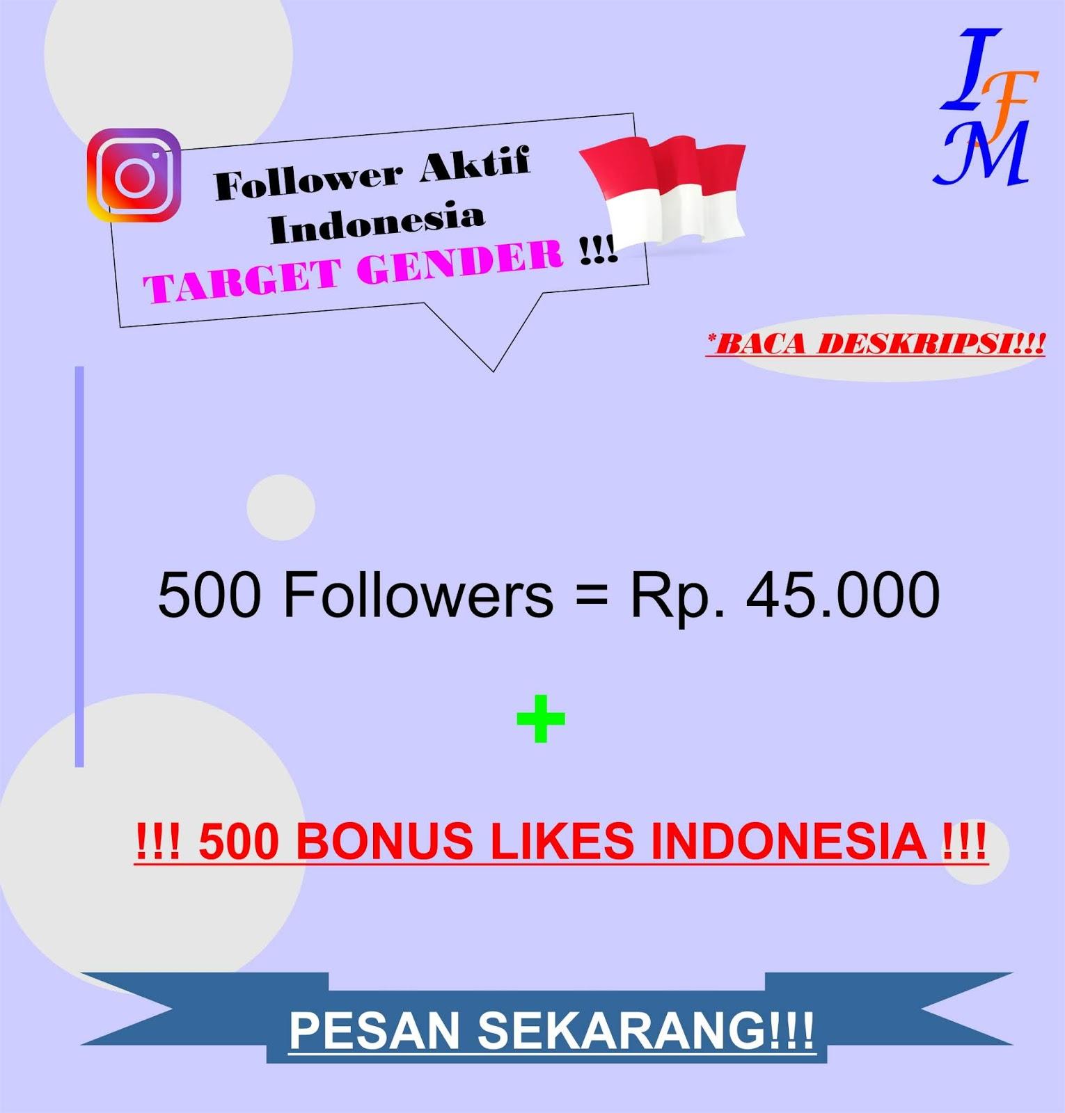 Jasa Tambah 500 Follower Akun Instagram Aktif Indonesia Target Gender Jenis Kelamin