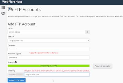 Create an FTP account