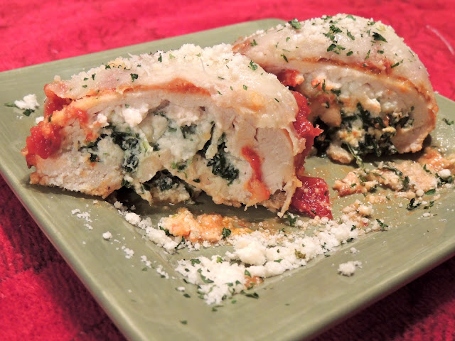 Chicken Stuffed with Spinach and Ricotta Cheese is an easy and delicious recipe that you can serve to your family for dinner or elegant enough to serve for company from Walking on Sunshine Recipes.