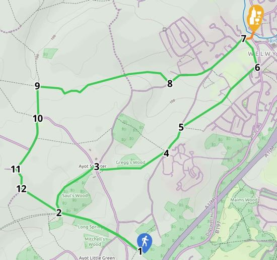 Image: Map for Walk 12: Old Welwyn Loop Created on Map Hub by Hertfordshire Walker Elements © Thunderforest © OpenStreetMap contributors Note: There is a larger, more detailed map embedded at the end of these directions