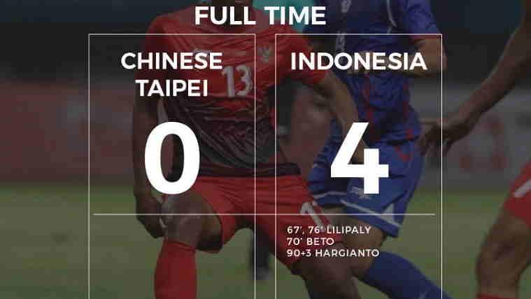 Hasil Chinese Taipei vs Indonesia Skor Akhir 0-4 [Fase Group Asian Games 2018]