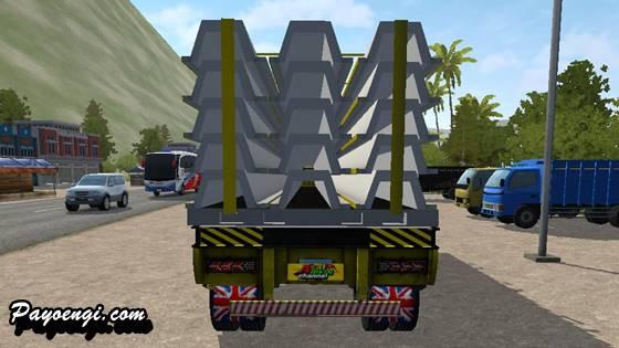 mod isuzu giga trailer muatan beton girder