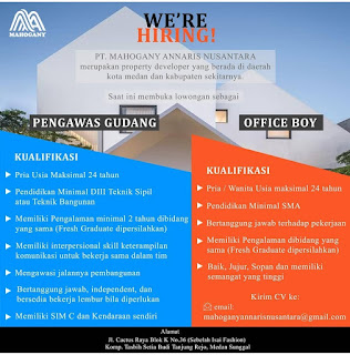 Lowongan Kerja Medan SMA SMK D3 S1 Juli 2020 di PT Mahogany Annaris Nusantara