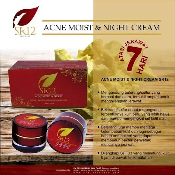 SR12 Acne Moist and Night Cream Yaitu Krim Jerawat Wajah Terbaik Produk Herbal