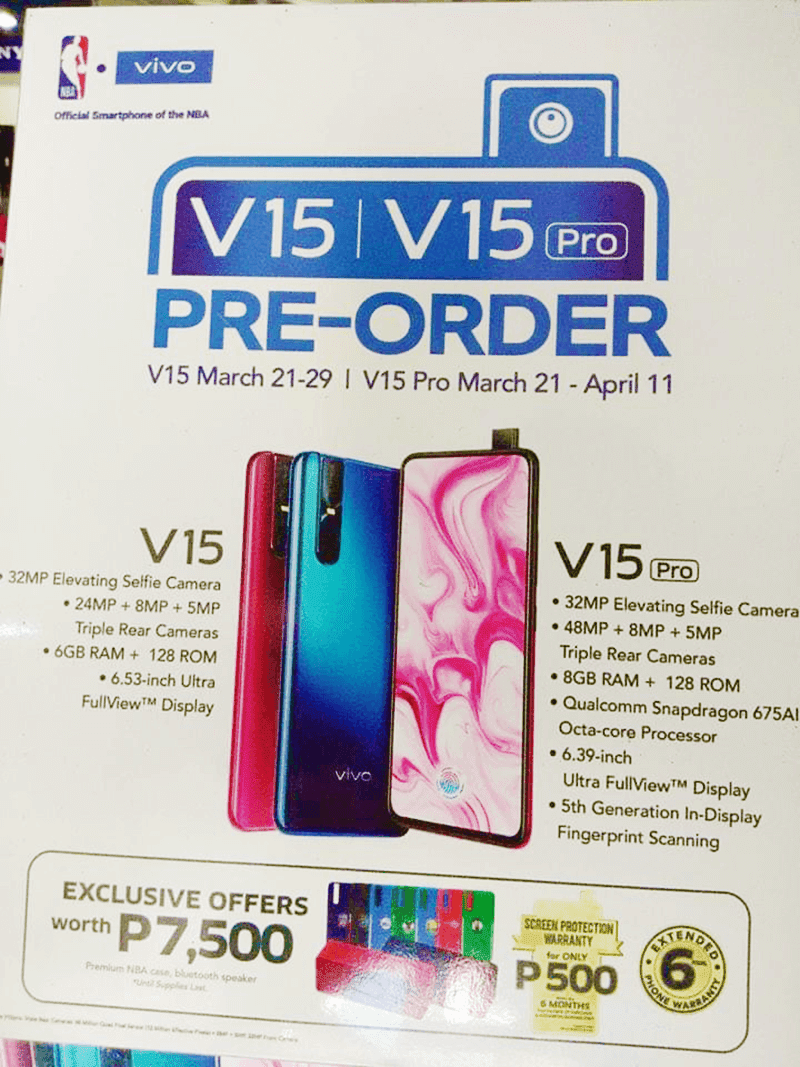 Vivo V15 and V15 Pro pre-order poster reveals freebies worth PHP 7,500!