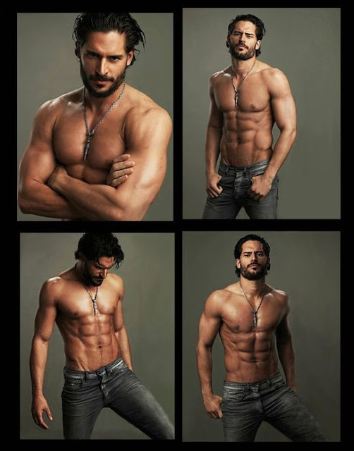 Joe Manganiello shirtless with jeans as True Blood's Alcide