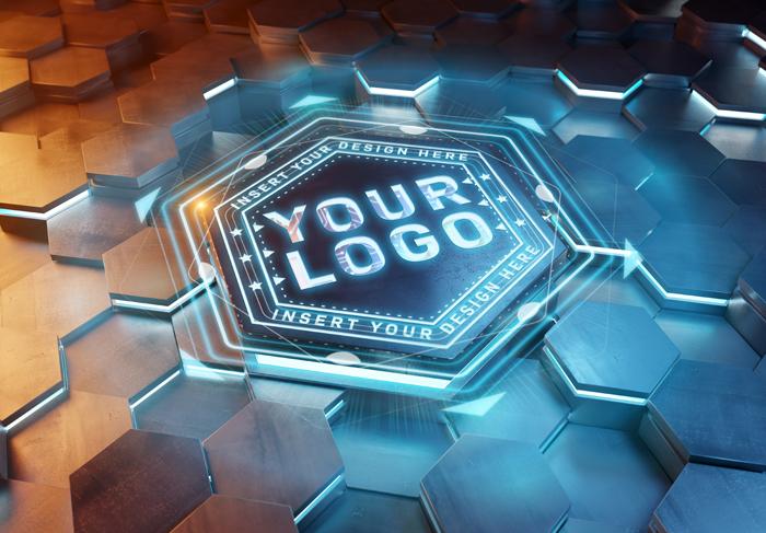 Logo Futuristic Hexagon Pedestal Mockup