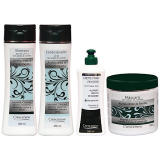 Kit com Shampoo, Condicionador, Creme e Máscara Hidratante Capilar Queda de Cabelo
