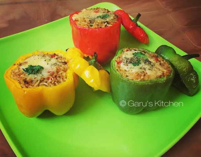 baked stuffed capsicum recipe | bharwan shimla mirch recipe | baked stuffed bell peppers recipe