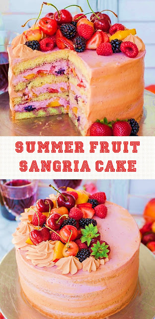 The Best Summer Fruit Sangria Cake