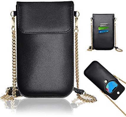 50% OFF Black  Fashion Cell Phone Purse with Chain Adjustable Strap