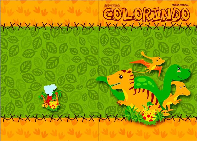 Carátula de libro para colorear de Fiesta de Dinosaurios.