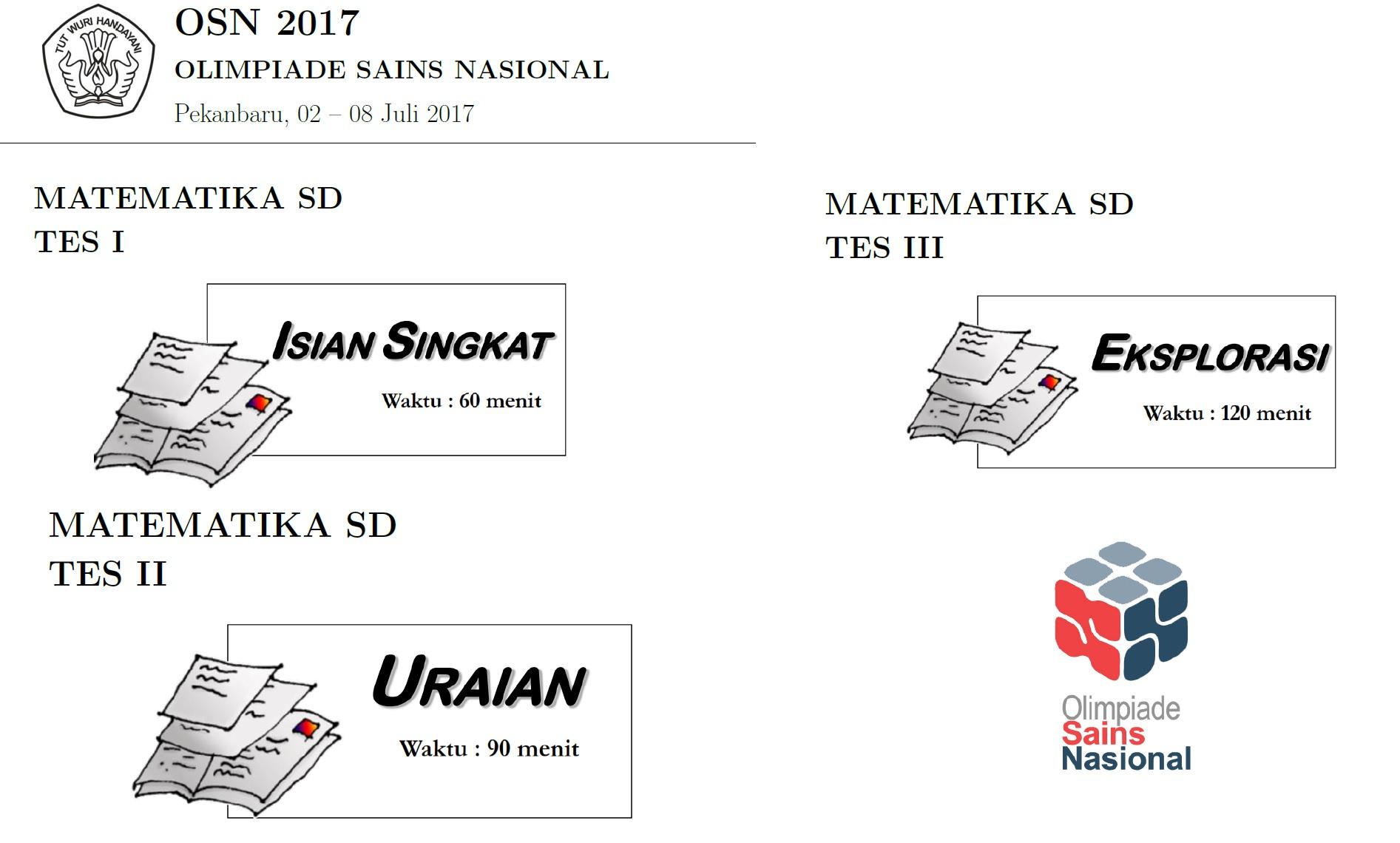 Soal dan Pembahasan OSN Sekolah Dasar Tahun 2017  Bidang Studi Matematika