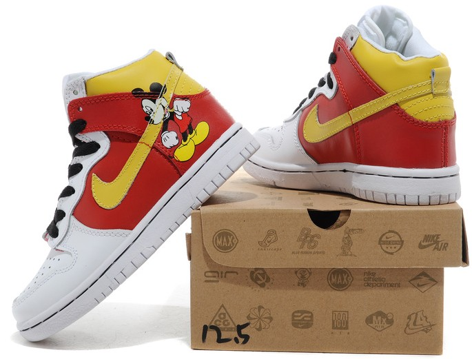 huge selection of 0a166 f7cd6 Product name  Nike Dunk High Disney Mickey Mouse For Men Kids White Red  304292-007. Detail color  white red Yellow shoes with picture  Disney  Mickey Mouse