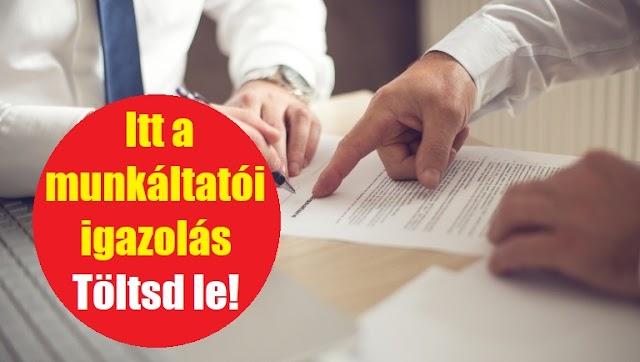 Dolgozni kell menned a kijárási tilalom alatt? Itt a munkáltatói igazolás - Töltsd le!