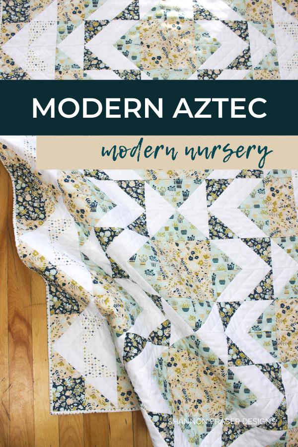 Neufchatel Modern Aztec Crib Quilt | Honest state of a modern quilter's WIP List | Q1 2020 Finish-a-Long | Shannon Fraser Designs #modernquilter #cribquilt