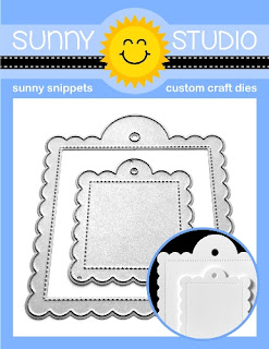 Sunny Studio Stamps: Stitched Scalloped Square Gift Tag 2-piece Metal Cutting Die Set