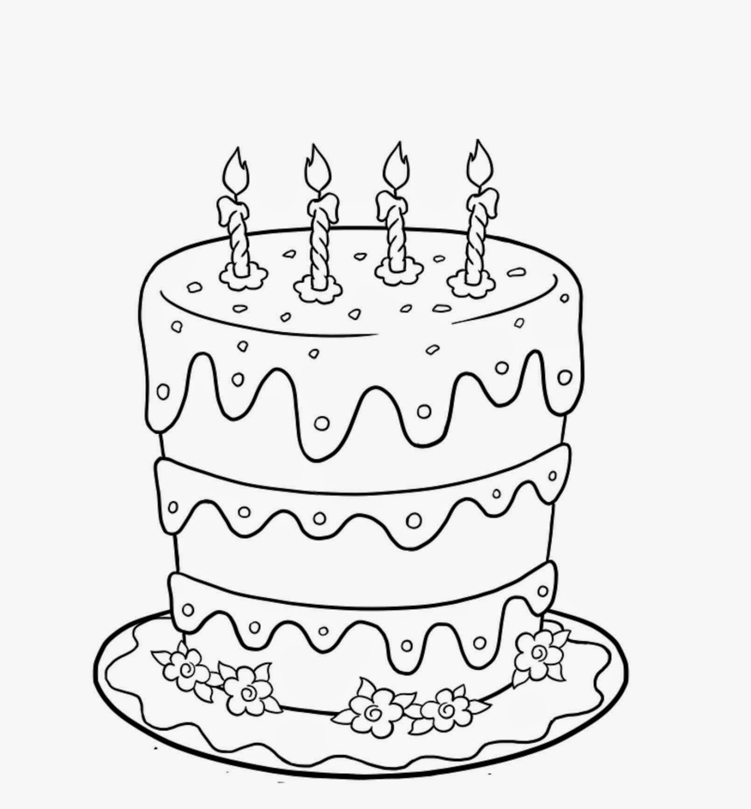 Sweet And Yummy Happy Birthday cake Colour Drawing HD Wallpaper
