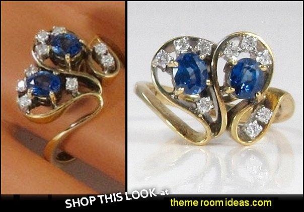 Blue Sapphire and Diamond  Ring; September Birthstone Ring; Cocktail Ring; Dinner Ring; Sapphire and Diamond Ring