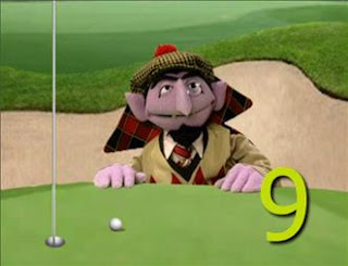 The Count takes 9 shots to knock his ball, Transylvanian Open golf tournament. Sesame Street Episode 4322 Rocco's Playdate season 43