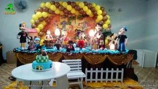 Decoração mesa de aniversário tema Chaves para festa infantil