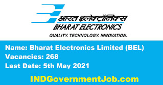 Bharat Electronics Limited Recruitment - 268 Project Engineer - Last Date: 5th May 2021
