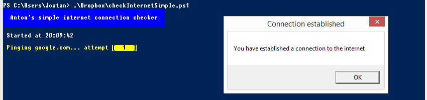 Script Powershell checkInternetSimple