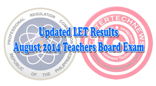 Updated LET Results on August 2014 Teachers Board Exam